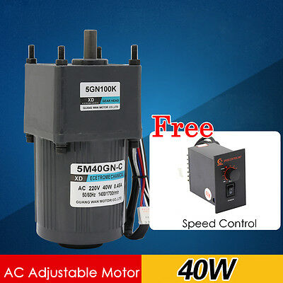 5M40GN-C 40W AC220V 10-500RPM Single Phase Gear Motor CW/CCW with Speed Control
