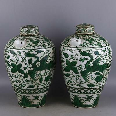 "13"" Collect Old Ancient China Green Glaze Porcelain Jar Jug Pot Bottle Pair"
