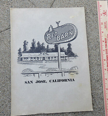 Original  c 1950s 1960s Red Barn Menu San Jose Ca with Photo