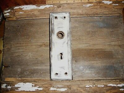 Vtg White Aged Shabby Chippy Mission Raised Edge Door Knob Back Plate Art/craft
