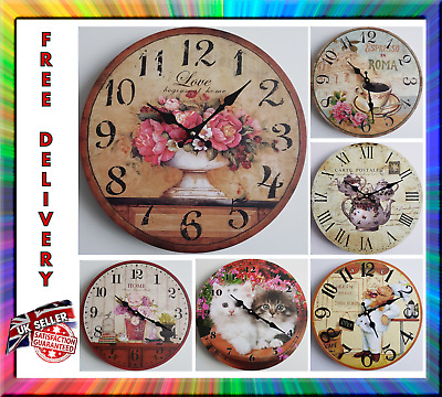 New Vintage Rustic Retro Shabby  Antique Kitchen Home French Style Wall Clock