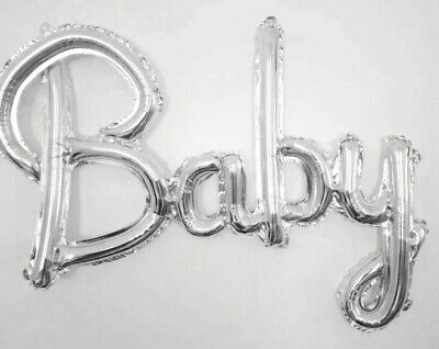 Baby Silver Script Foil Balloon Boy Girl baby shower gender reveal Air fill