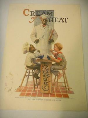 Original CREAM OF WHEAT Ad PUTTING IT DOWN IN BLACK & WHITE 1919 Ed Brewer