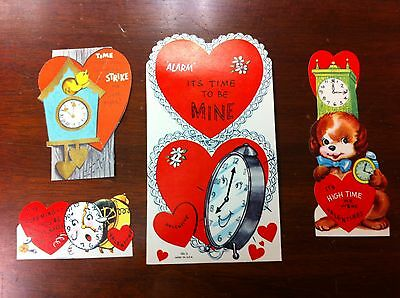 Lot of 4 Vintage Valentines 1950s Clocks Alarm Grandfather Cuckoo Time