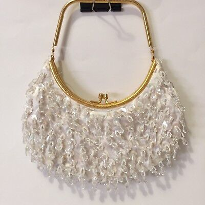 Beaded Evening Bag White Ivory Purse Sparkle - Gold Frame Clasp - Party Bridal