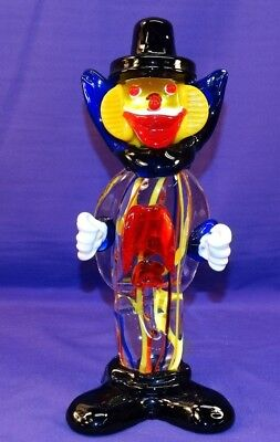 "Vintage Murano? Italy Art Glass 9"" Clown Figurine Red Blue Yellow Stripes Cobalt"