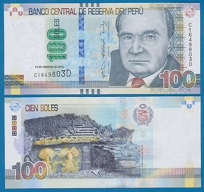 Peru 100 Nuevos Soles P 190 New date 2015 UNC Low Shipping! Combine FREE!