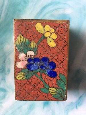 Antique Chinese Cloisonne Match Holder Floral Enamel Vintage Red Blue Yellow