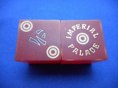 Pair of Closed IMPERIAL PALACE LV Casino Dice - Matte Red, Matching #s