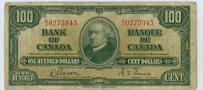 1937 CANADA $100.00 GORDON TOWERS B/J Prefix
