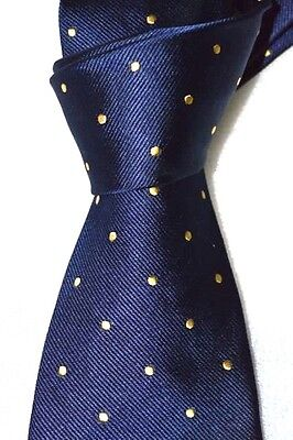 """$75 NWT BROOKS BROTHERS navy w/ gold spots men's 3.5"""" classic woven silk tie USA"""