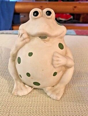 """Look- White Frog With Green Polka Dots- Chunky Abt 5 """" Tall"""