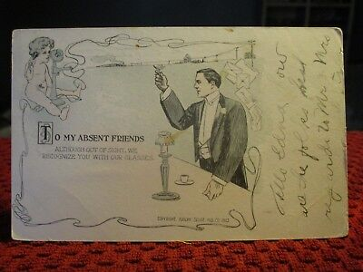 "Early 1900's. Art Deco. ""to My Absent Friends"" Telephone Cupid. Postcard A8"