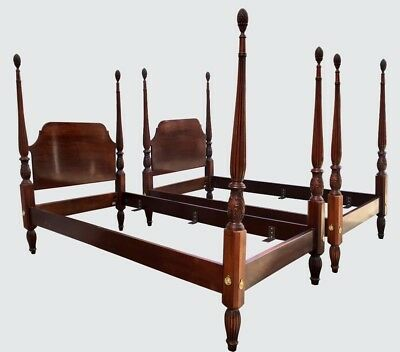 Pair Council Craftsman Antique Style Four Poster Mahogany Twin Beds ~ The Finest