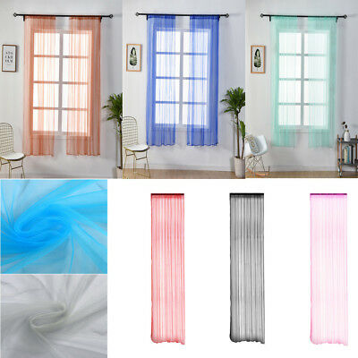 Solid Floral Tulle Voile Door Window Curtain Drape Panel Sheer Scarf Valance 1PC