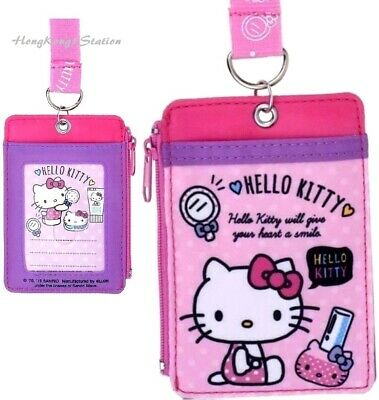 Hello Kitty Coin Purse ID Cards Badge Holder Pass Case Pouch Bag Lanyard Wallet