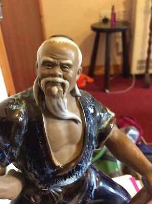 Large Chinese Shiwan Mud Man Figure-The Old Wood Cutter-Excellent Condition