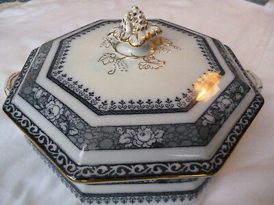 Keeling & Co Burslem Losol Art Nouveau Deco Blue White Tureen