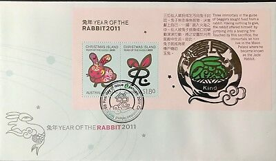 Christmas Island 2011 Year Of The Rabbit Mini Sheet First Day Cover