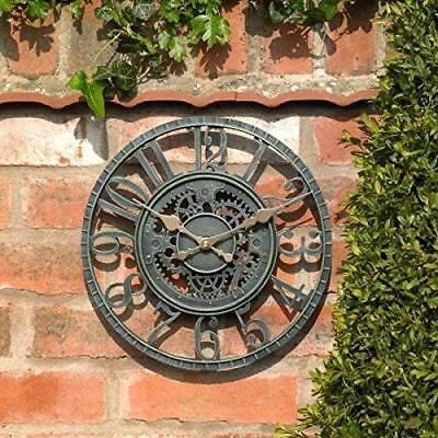 Garden Mile Large Vintage Open Face Blue Slate Outdoor Decorative Wall Clock