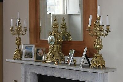 19th c Gilt Bronze French Rococo Mantle Clock Garniture Set