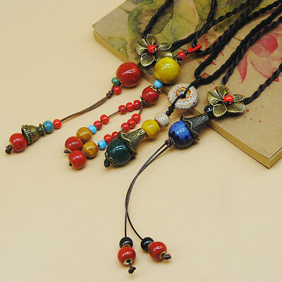 Vintage ethnic style Hand made ceramic Bead pendant sweater chain necklace N283