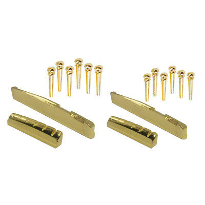 2 Set Brass Bridge Pins Pegs Saddles Nuts for Acoustic Guitar Accessory