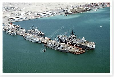 US And French Warships Moored In Bahrain Operation Desert Storm 8 x 12 Photo