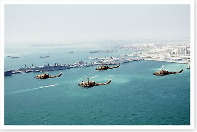 UH-1N Iroquois Helicopters In Formation Manama Bay Desert Storm 8 x 12 Photo