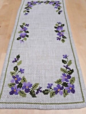 Swedish hessian table runner with purple cross stitch floral pattern