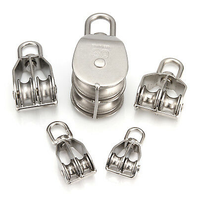 Stainless Steel Single/Double Wheel Swivel Pulley Block Lifting Rope Pulley