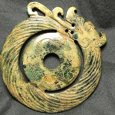 Chinese Carved Yellow Green Jade Tang Bi Disc with Dragon