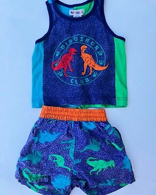 Boys Vintage Gymboree Blue Dinosaur Lined Swim Trunks Shorts Set 18 Months 2T