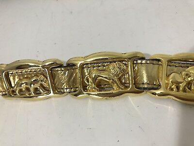 Vintage Gold Tone Elephant Tiger Panther Animal Belt with Faux Leather Strap M/L