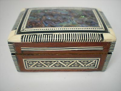 "Handmade Egyptian Inlaid Mother of Pearl Paua Shell Jewelry Box 3 1/2"" X 2 1/4"""