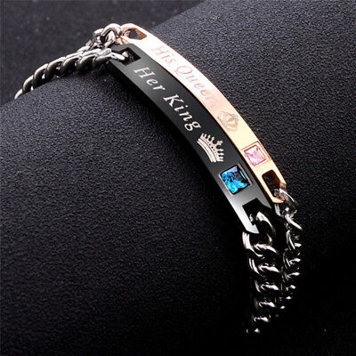 His Queen Her King Stainless Steel His and Hers Love Couple Bracelet BangleUW4D