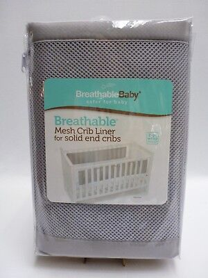 Breathable Baby Mesh Crib Liner for Solid End Cribs Gray NEW Bumper