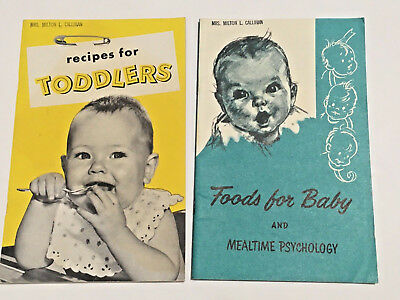 Vintage 1950s LOT 1956 Gerber Recipes for Toddlers 1957 Foods Baby Mealtime Book