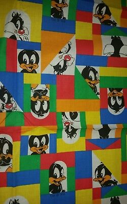 Warner Bros Fabric Material Baby Daffy Duck and Baby Sylvester Colorful Block