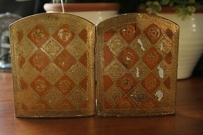 Vintage Italian Florentine BOOK ENDS Gold Gilt Wood ~ made in Italy