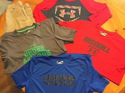 f71d60572 LOT 5 PIECES Boys Under Armour shirts and shorts Size Youth Large ...