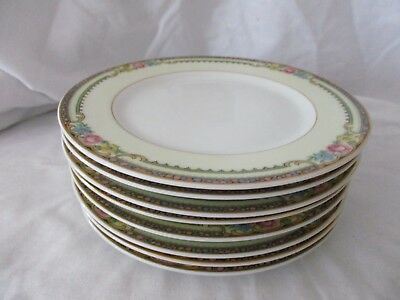 Thun Delaware lot of 8 bread butter side plates yellow floral gold rim Bohemia