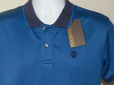 30252cf4 Nwt Roberto Cavalli Embroidered Logo Jacquard Short Sleeve Polo Shirt Blue  Small