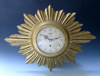 Vintage sunburst starburst Art Deco clockwork SMITHS wall clock & key WORKING