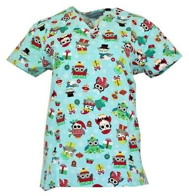 Halloween Medical Scrub Top Boo! Purple Owls Ghosts Size XS-XL Holiday Prints