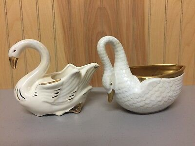 (2) VTG SWAN Planter FIGURINES~Cream and Gold ~Shabby Chic