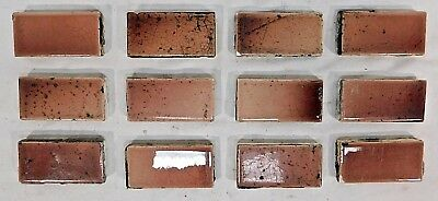 """12 Antique TRENT 3"""" x 1 1/2"""" Fireplace Hearth Tiles - 1885 Architectural Salvage"""