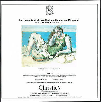 1978 Vintage Pablo Picasso Art Christies Impressionist Modern Auction Print Ad