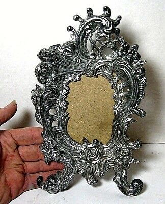 Vintage Ornate Metal  Tone  Back Picture Frame Italy