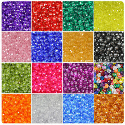 BeadTin Transparent 12mm Faceted Round Craft Beads (150pcs) - Color choice